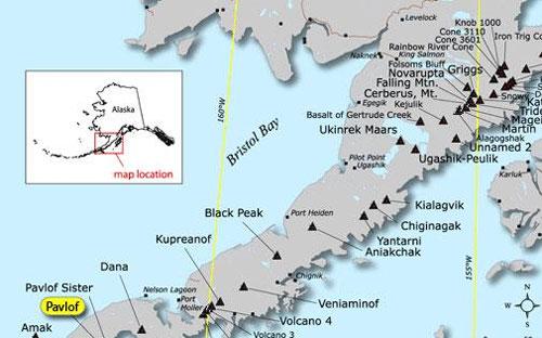 Alaska Map Volcano.Pavlof Ash Falls On Sand Point Alaska Public Media