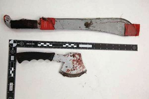 """Anchorage Police released this photo of the """"knife-like bladed weapons"""" described in the incident. Photo courtesy of APD."""