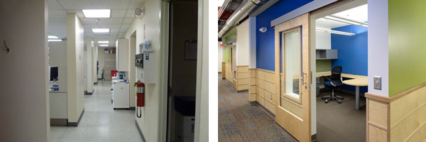 The hallway in the photo on the left is an example of what the inside of the building looked like prior to the redesign. The photo on the right is an example of what it looks like after the redesign. Photo by Daysha Eaton, KSKA - Anchorage.