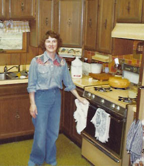 Connie in the kitchen, early 1970's.
