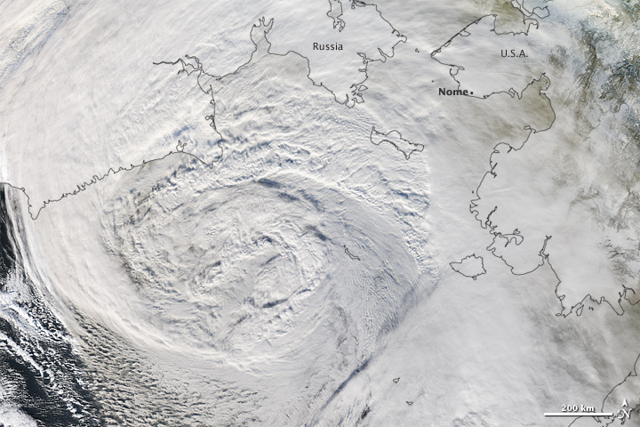 November 12, 2012: a huge, powerful storm hits Alaska. Credit: NASA's Earth Observatory (Powerful Storm hits Alaska) [CC-BY-2.0 (http://creativecommons.org/licenses/by/2.0)], via Wikimedia Commons