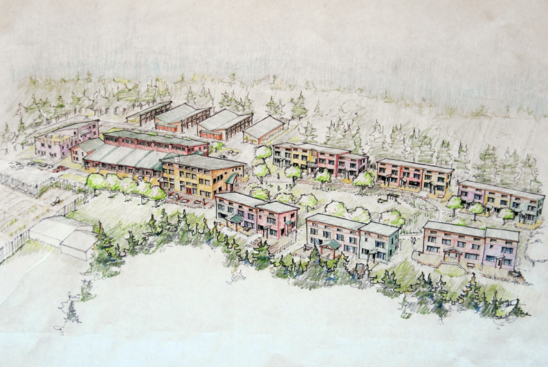 Rendering of future Ravens' Roost Cohousing neighborhood by  Kraus Fitch. http://www.abbottcoho.org/
