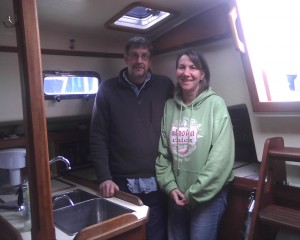 Jack and Barbra Donachy in their boat's kitchen.