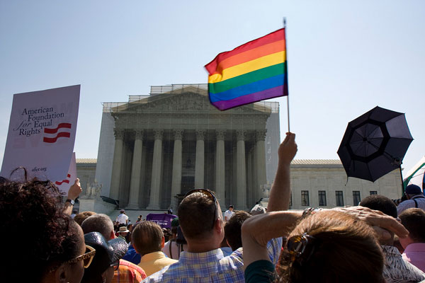 The crowd outside the Supreme Court yesterday. (Photo by Photo Phiend/Flickr Creative Commons)