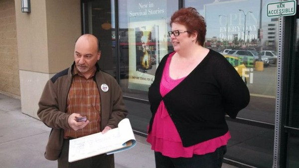 "The Barnes and Noble in Anchorage has been a regular spot for signature gatherers backing a referendum to repeal a tax cut on oil companies. (Via the ""Yes Repeal the Giveaway"" Facebook page)"