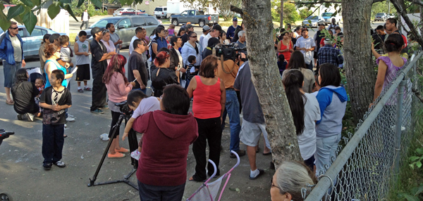 Friends and family gather at a memorial for Kenneth John, who was shot and killed in the third officer involved shooting in Anchorage this year. Photo by Daysha Eaton, KSKA - Anchorage.