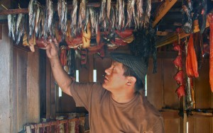 Jason Aceveda shows off hooligan, salmon and seal in the smokehouse at the Kake culture camp. Photo by Erik Neumann, KCAW - Sitka.