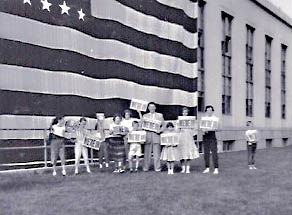 Woodland Park Presbyterian Church group in front of Federal Building, Anchorage. June 30, 1958.  Jana Ariane Nelson