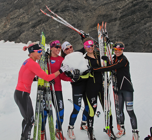 The winners of the day's practice relay receive a piece of Eagle Glacier ice as their award. (Photo by Annie Feidt, APRN - Anchorage.)
