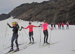 Skiers train at APU's unique camp on Eagle Glacier. (Photo by Annie Feidt, APRN - Anchorage)