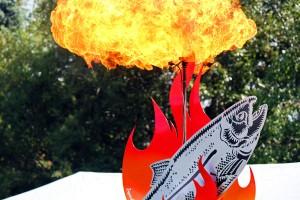 salmon sculpture flames