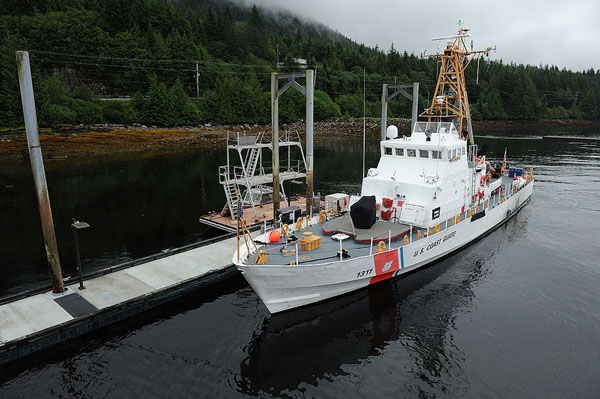 The Coast Guard Cutter Naushon floats just off the bottom at low tide in Ketchikan, Alaska, Aug. 4, 2012. Tidal fluctuations can exceed 22 feet in south eastern Alaksa. U.S. Coast Guard photo by Petty Officer 2nd Class Patrick Kelley.