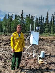 Michael Richmond sets up a portable weather stations and monitors the data. Photo courtesy of Michael Richmond.