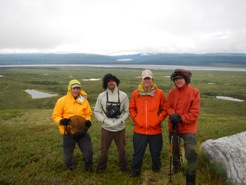 2013 Muldrow cleanup, Talkeetna Rangers, Mark, Joey, Chris and Roger on top of Turtle Hill