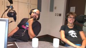 Filmmaker Bryant Mainord and midwife Jenn Hoadley in the studio.