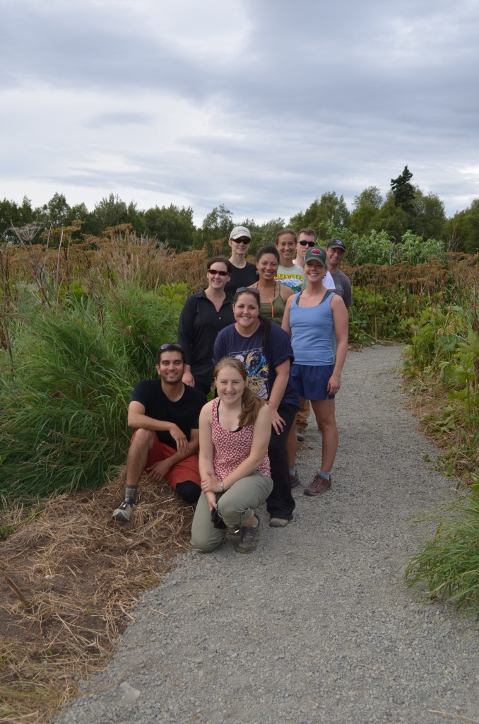 The volunteer team poses for a group shot at Campbell Creek estuary.