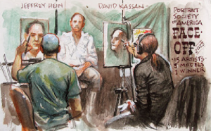 A sketch of Gurney sketching at the Portrait Society of America gathering.