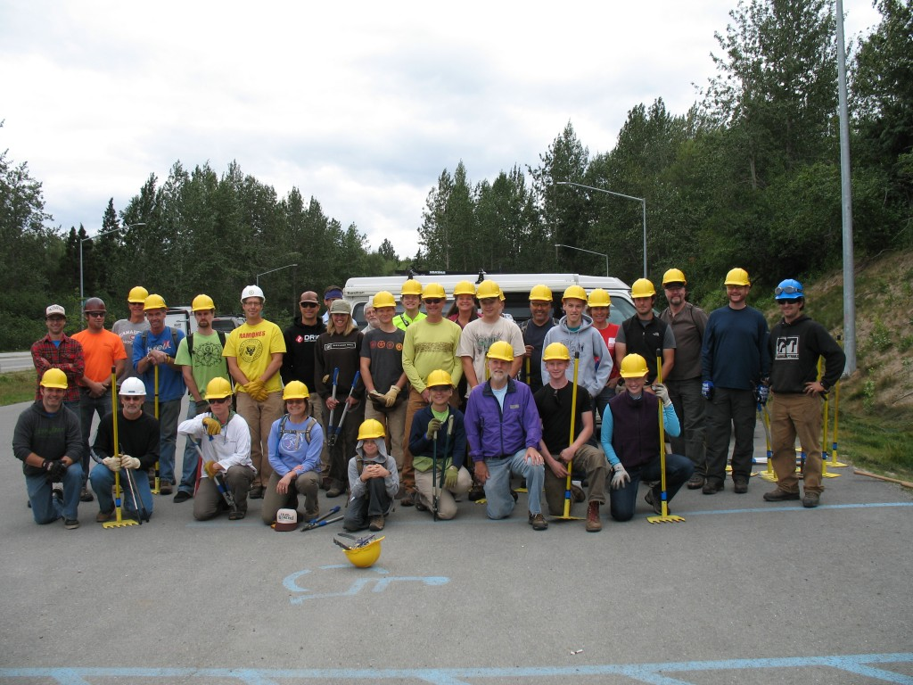 Volunteers ready to make new trails.