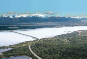 A conceptual concept rendering of the KABATA bridge. Image from the Knik Arm Bridge and Toll Authority.