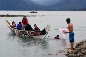 Young canoers paddle and swim during their journey to Alaska. Photo courtesy Diane Raymond Stewart of Kingcolith, B.C.