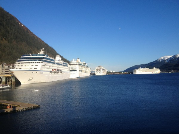During the summer months, Juneau can get as many as seven cruise ships in a day. (Alexandra Gutierrez/APRN)