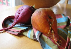 The special chioggia beets Drygas selected for our meal.