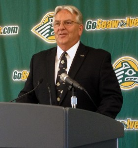 New UAA Athletic Director Keith Hackett addresses the media on Sept. 20. Photo by Josh Edge, APRN - Anchorage.