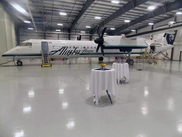 Alaska Airlines Bombardier Q-400. Photo by Dan Bross, KUAC - Fairbanks.