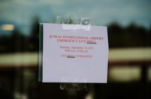 Officials placed signs around the airport to alert the public to the drill. (Photo by Heather Bryant/KTOO)
