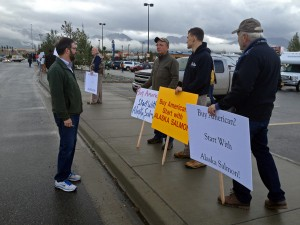 Fishermen gathered in protest in front of the South Anchorage Walmart on Tuesday. Photo by Daysha Eaton, KSKA - Anchorage.