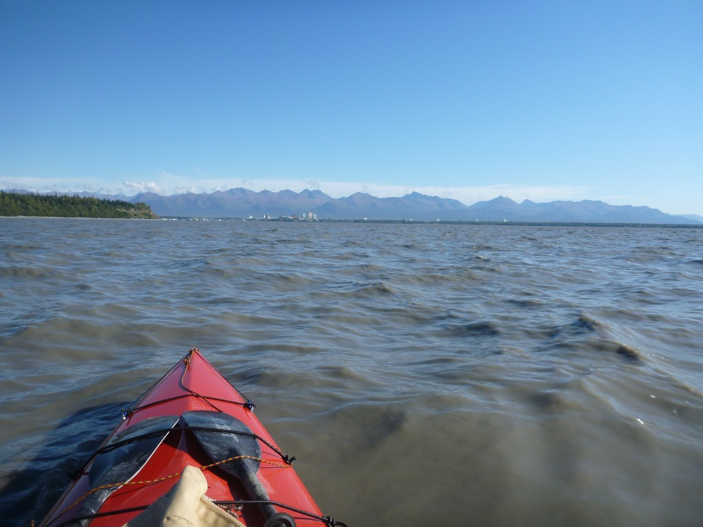 Bob Vollhaber approaches Anchorage and the end of his jounrey after 5 months in his canoe.