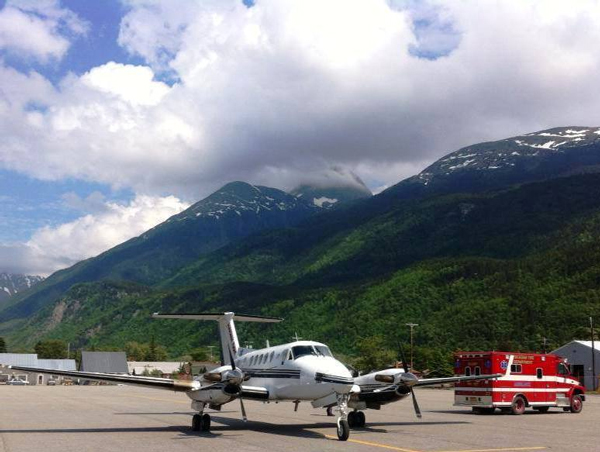 A Guardian Flight turboprop prepares to take off from Skagway's airport last summer. The company is taking over all medevacs for the SouthEast Alaska Regional Health Consortium. Photo courtesy Guardian Flight on Facebook.