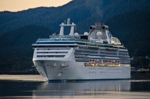 The Coral Princess Cruise ship prepares to dock in Juneau. Photo by Heather Bryant, KTOO - Juneau.