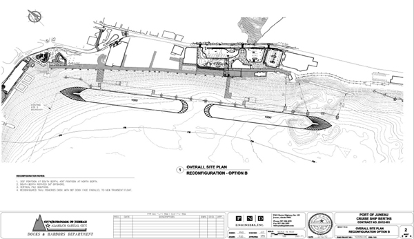 A consultant's drawing of Juneau's proposed floating cruise ship docks. Image courtesy CBJ Docks and Harbors Department.
