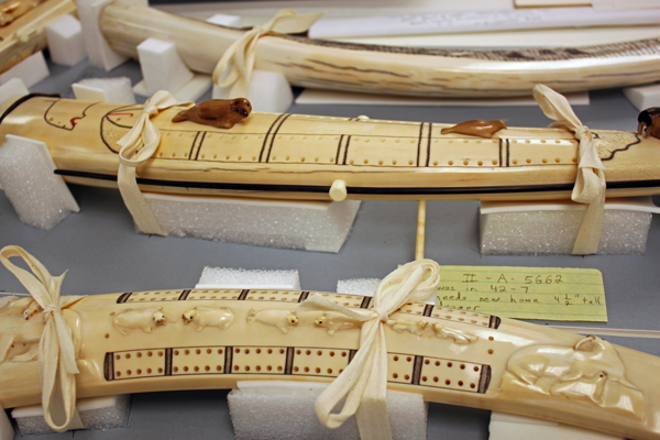 Ivory cribbage boards sit in custom storage mounts made by museum professional Jon Loring. Photo by Lisa Phu, KTOO - Juneau.