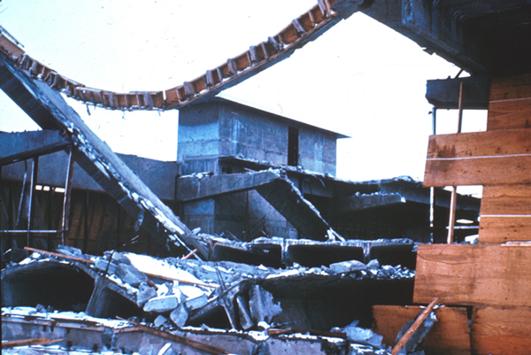 Alaska Earthquake March 27, 1964. The Alaska Sales and Service building in Anchorage, which was under construction, partially collapsed during the earthquake. Photo courtesy of USGS.