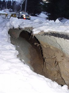 Unusually Large Crack Develops In Haines Road