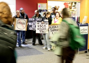 Protesters On Hand As CG Admiral Arrives In Sitka