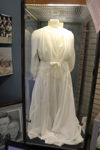 This wedding dress made of WWII era parachute material, originally belonged to Renelda Ronvelda Peacock.