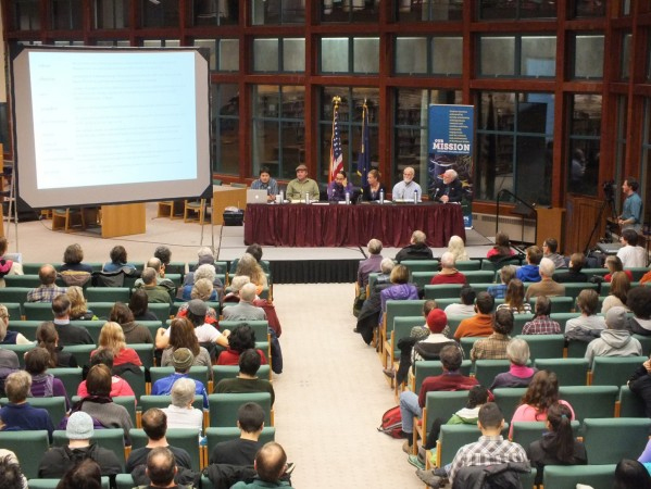 The panel held its discussion as part of the University of Alaska Southeast Evening At Egan Lecture Series. Photo by Casey Kelly, KTOO - Juneau.