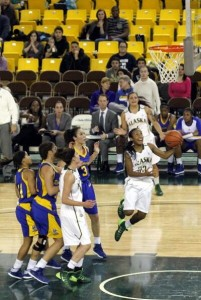 UAA's Kiki Robertson hits a layup in the 1st half against UC Riverside. Photo by Josh Edge, APRN - Anchorage.