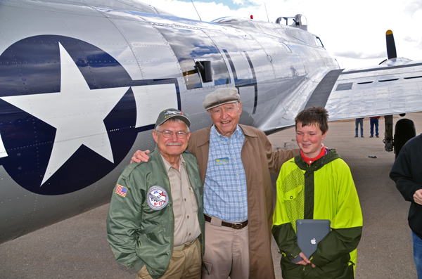 "Capt. Chet Bowers, one of the ""Greatest Generation"", with grandson and Rex Gray, B-17 Pilot-Docent. Photo courtesy of Rex Gray."