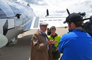 "Capt. Chet Bowers, one of the ""Greatest Generation"" telling a B-17 flying story. Photo courtesy of Rex Gray."