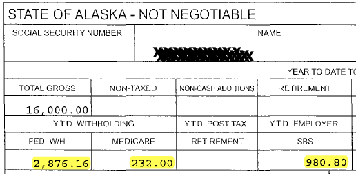 A representative's office account pay stub shows that over $4,000 automatically went to federal taxes or the representative's own retirement fund.