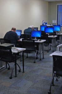 Those who participate in the 'Family Self Sufficiency' Program can use the program's  computers. Photo by Daysha Eaton, KSKA - Anchorage.