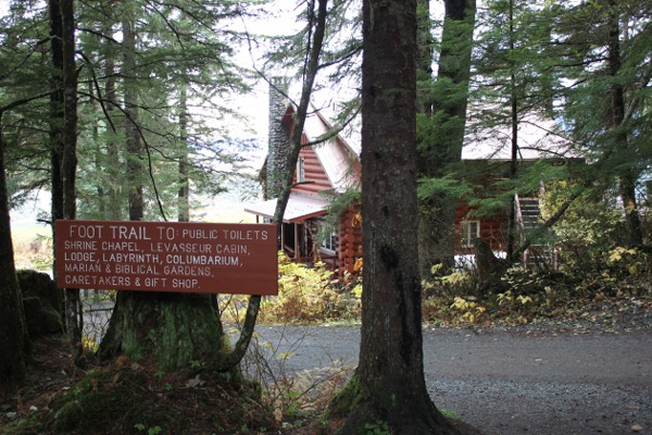 Entrance to the Shrine of St. Therese. Photo by Lisa Phu, KTOO - Juneau.