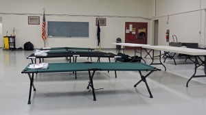 Empty cots await use at the Kenai Armory. The Red Cross has set up a relief station for homeowners affected by flooding around K-Beach Road.