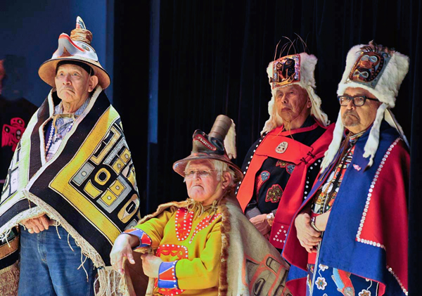 Clan leaders wear traditional regalia during the 2012 Clan Conference in Sitka. Photo courtesy of Peter Metcalfe.