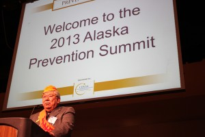 Alaska Native Brotherhood grand president Bill Martin speaks during opening remarks of the Prevention Summit sponsored by the Council on Domestic Violence and Sexual Assault. Photo by Lisa Phu, KTOO - Juneau.