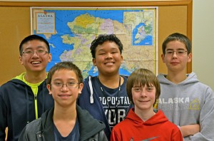 Unalaska Raiders robotics team. Back row, L-R: Jonathan Le, Johnny Khongsuk, Brian Conwell. Front row, L-R: Amiel Fernandez, Kennan Jordan. Photo courtesy of John Conwell, Unalaska school superintendent.